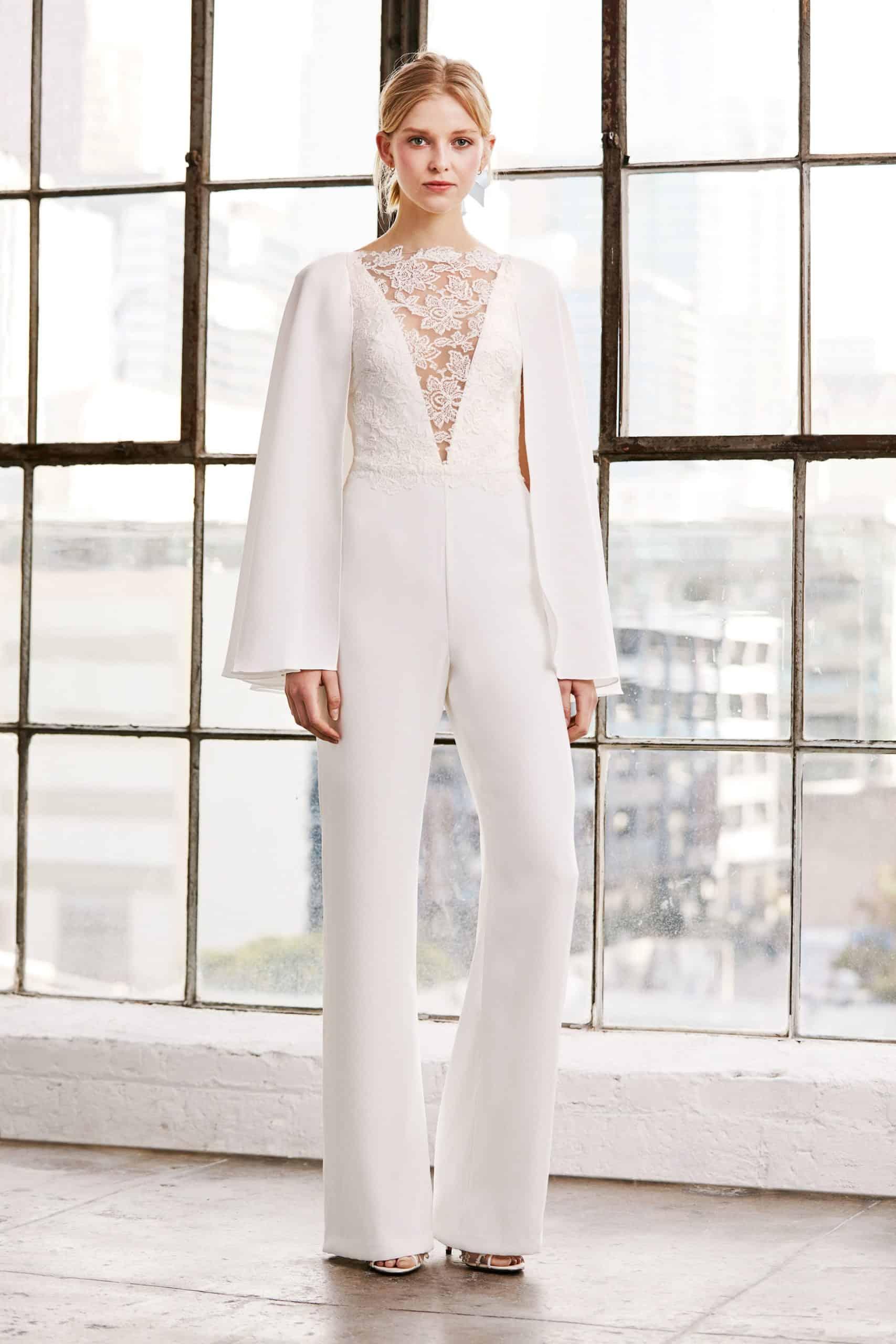 jumpsuit wedding dress with a V-neck lace by Tadashi Shoji
