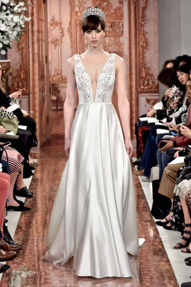 silk wedding dress with a crown by Theia