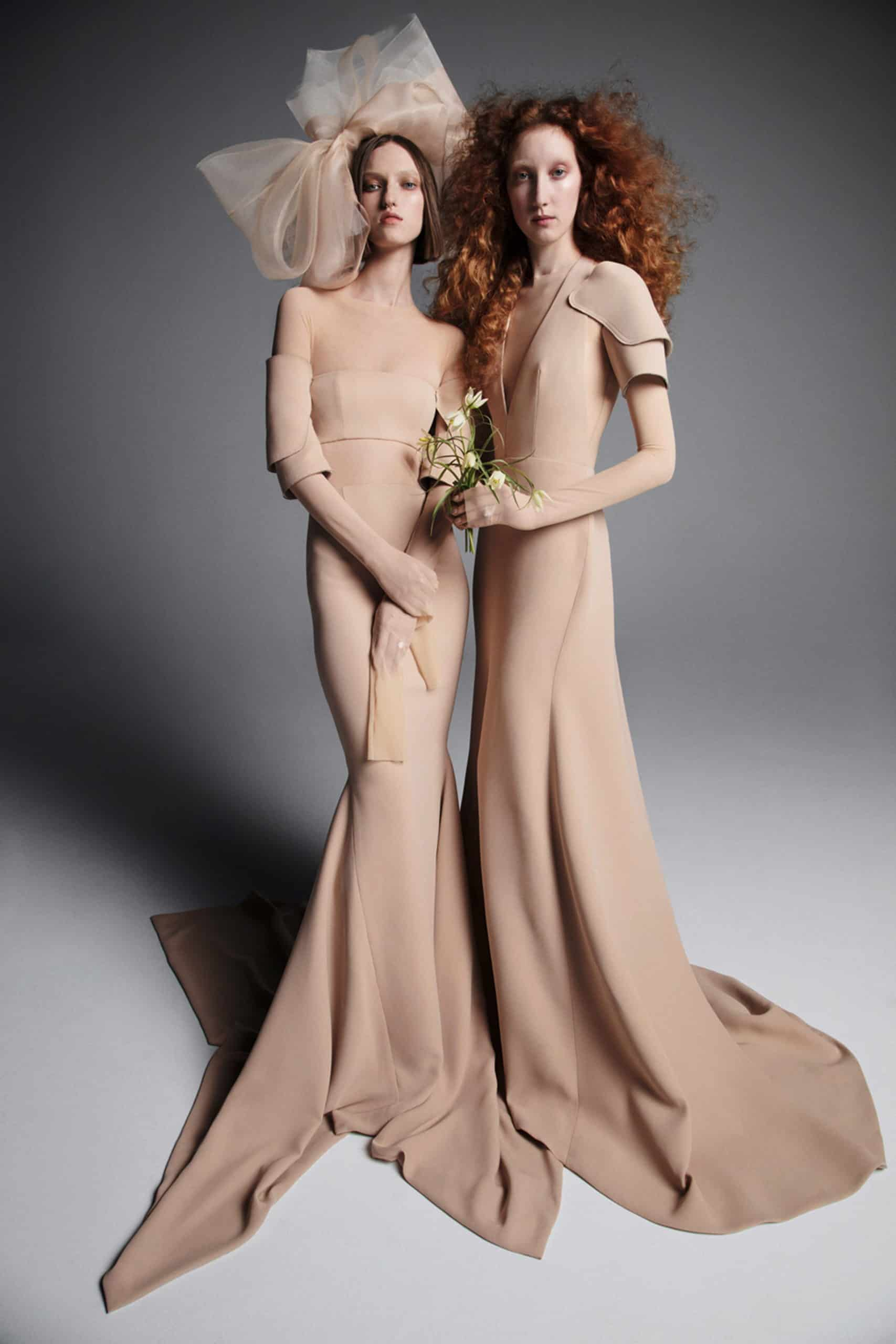 wedding dresses a line in somon colour by Vera Wang