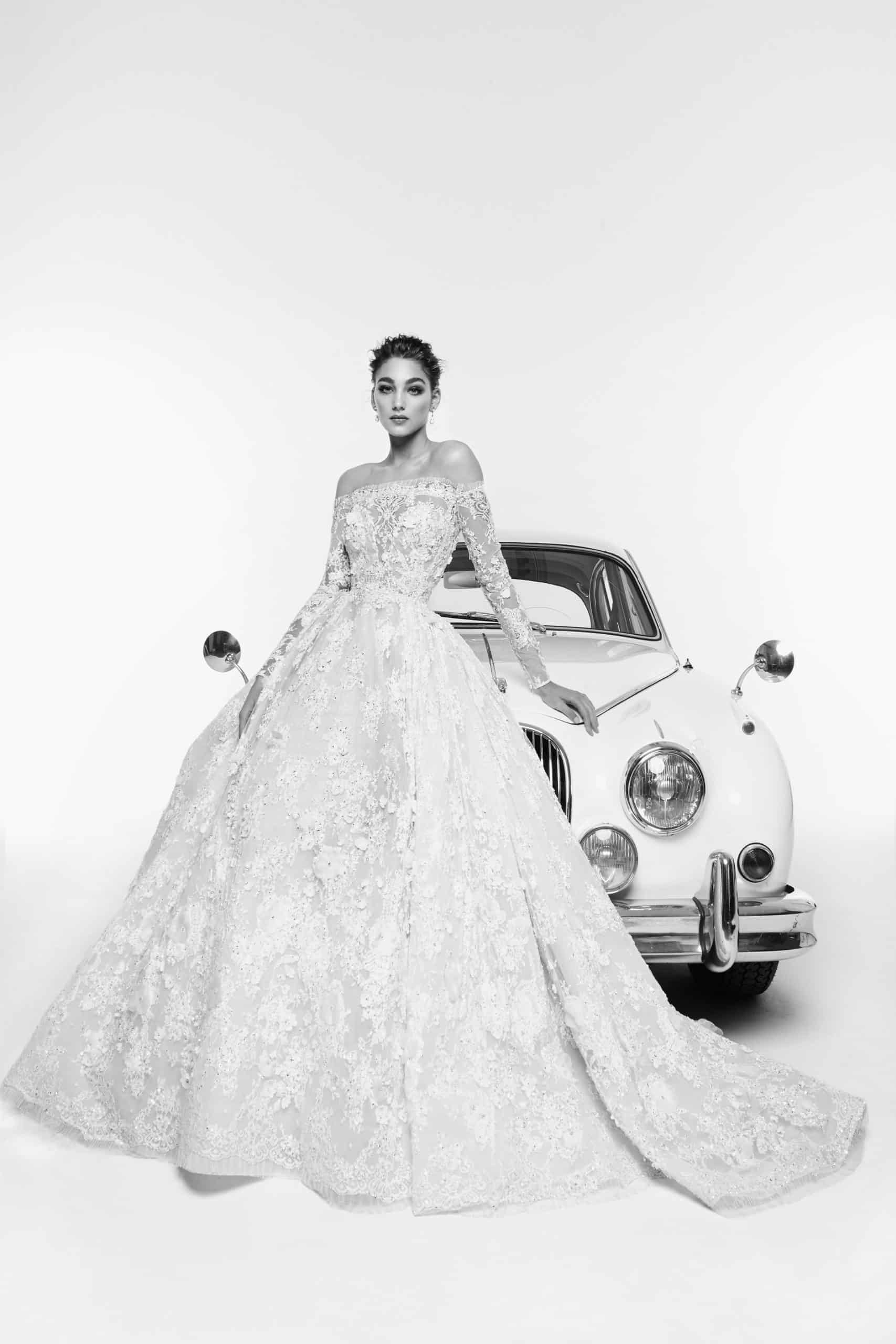 a-line wedding dress with a heavy lace by Zuhair Murad