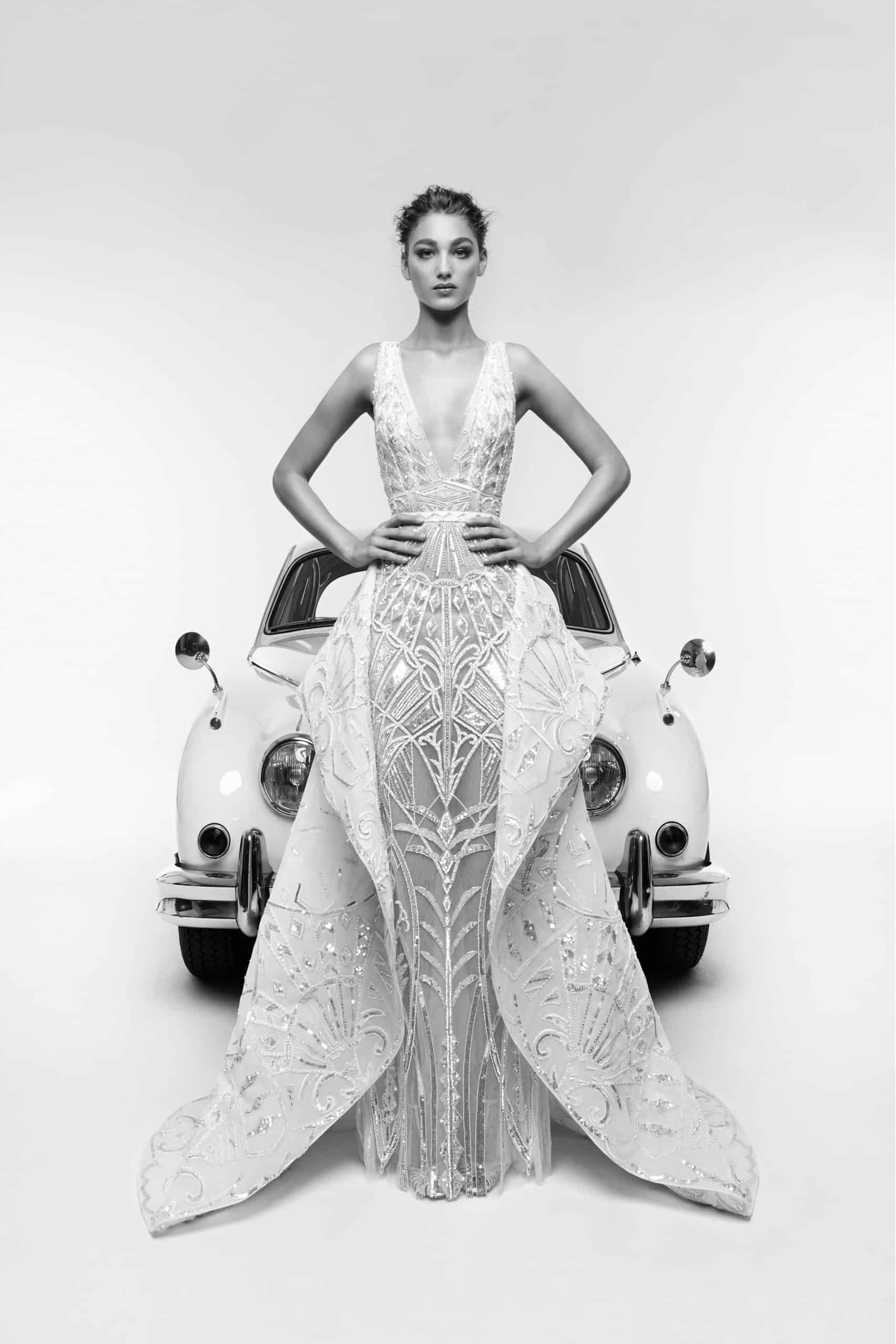 wedding dress with metallic lace details by Zuhair Murad