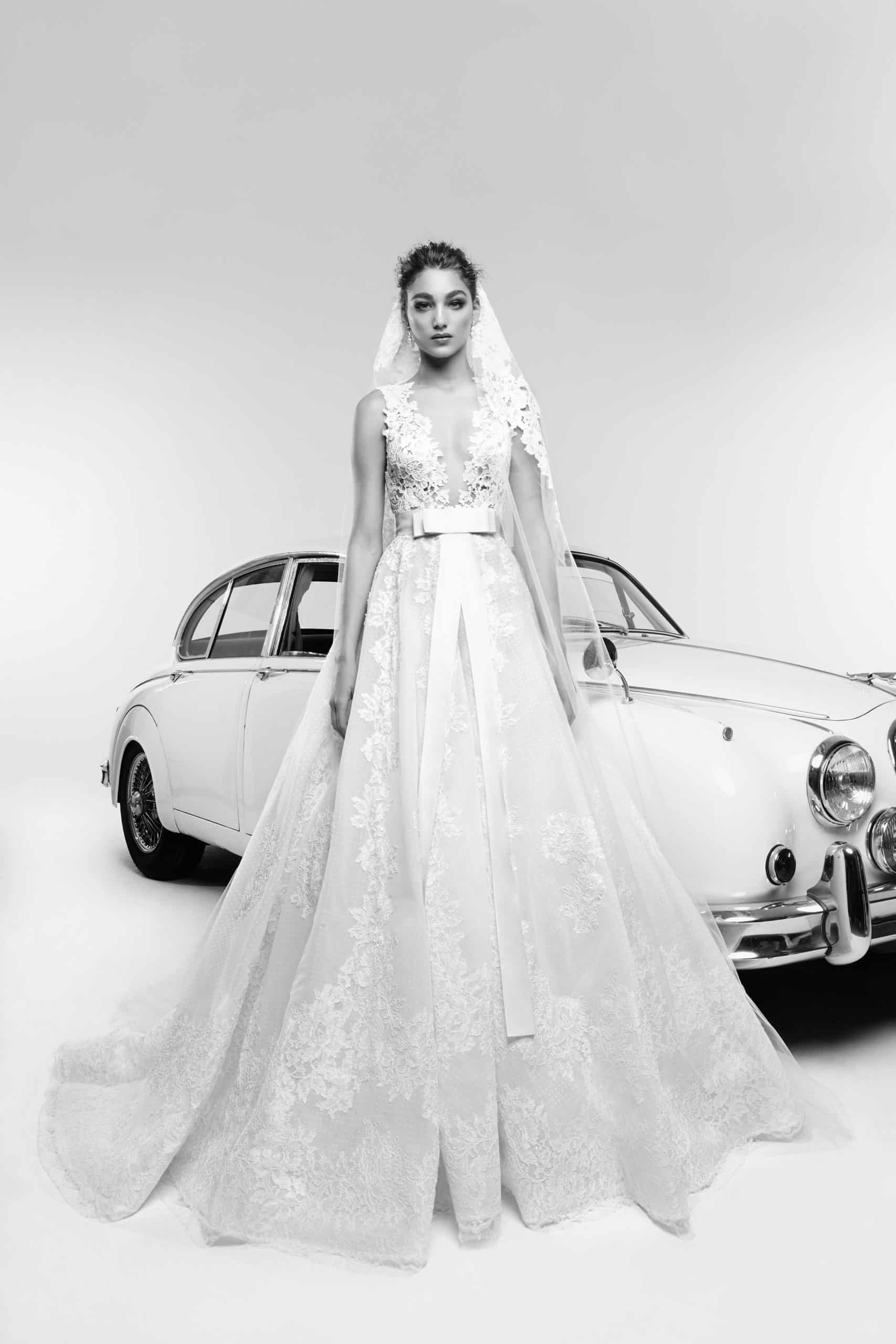 a-line wedding dress with a bow by Zuhair Murad