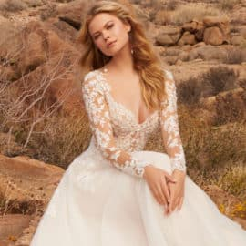 Wedding dress with a seethrough floral top, by WOW Bridal in Cyprus.