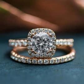 Golden engagement rings with diamonds, by You & Me Wedding Ring Shop in Cyprus.
