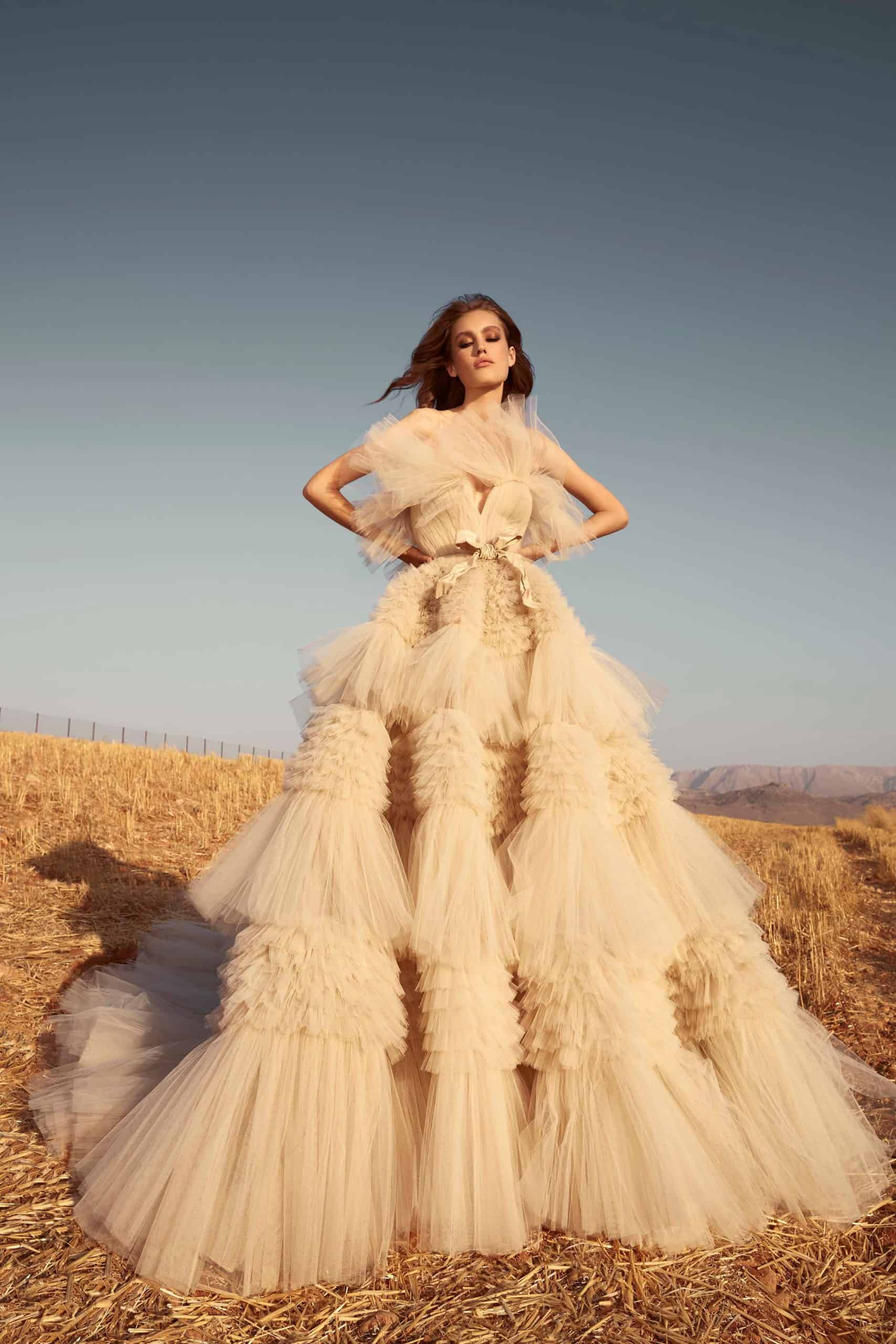 tulle wedding dress with extra volume skirt by Zuhair Murad