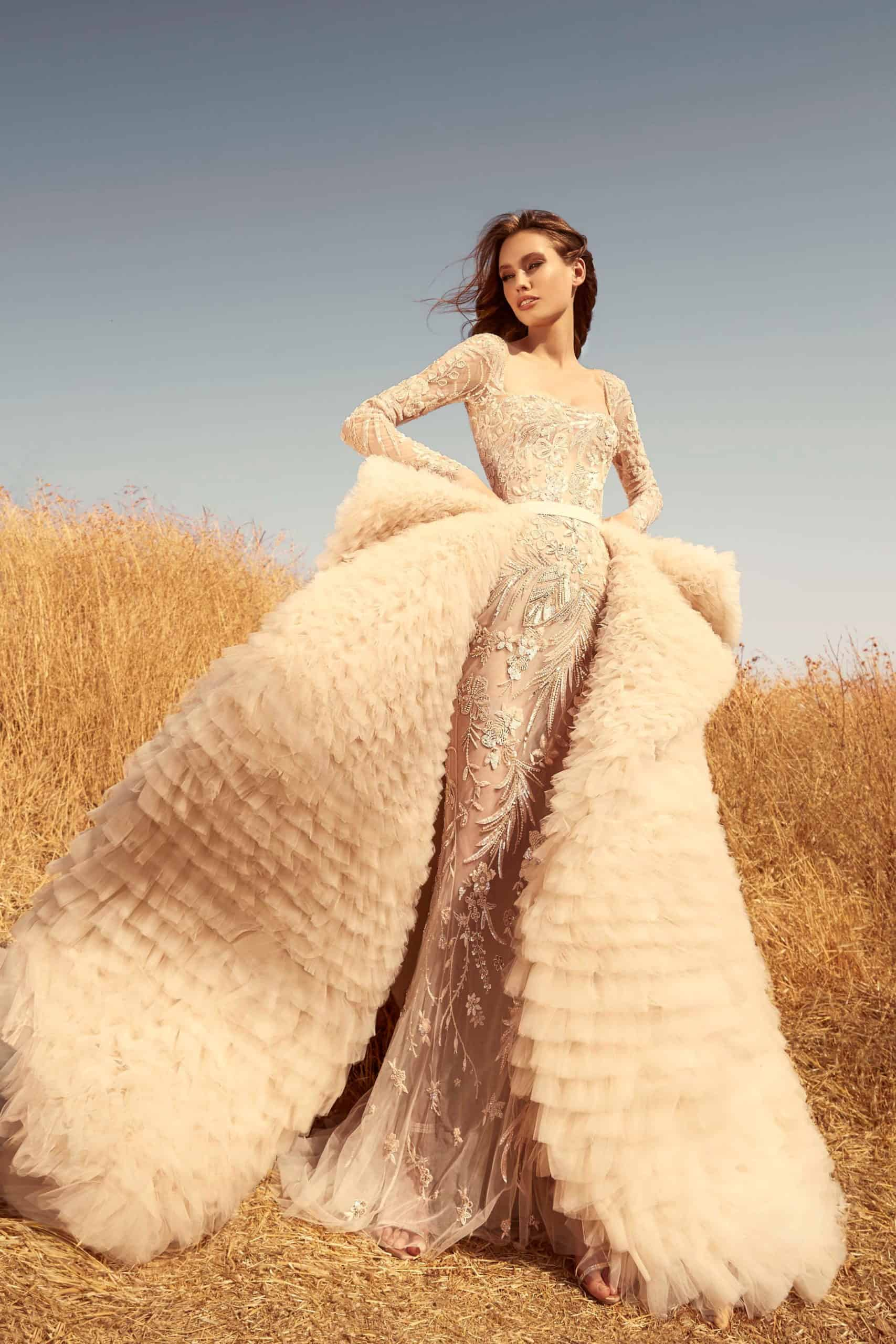 beige wedding dress with extra wide tulle skirt by Zuhair Murad