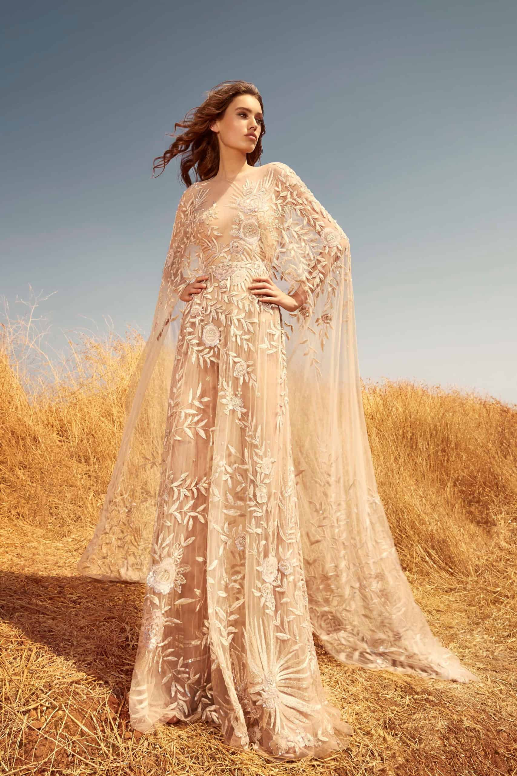 tulle wedding dress with embossed flowers and cape by Zuhair Murad