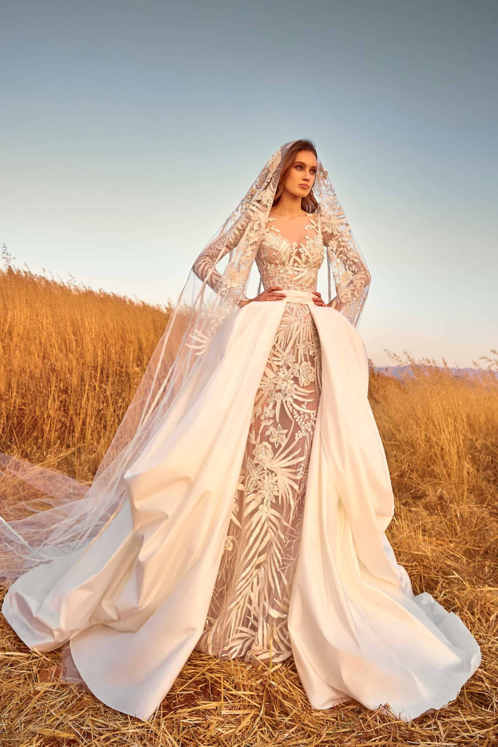 lace wedding dress with extra wide satin skirt by Zuhair Murad