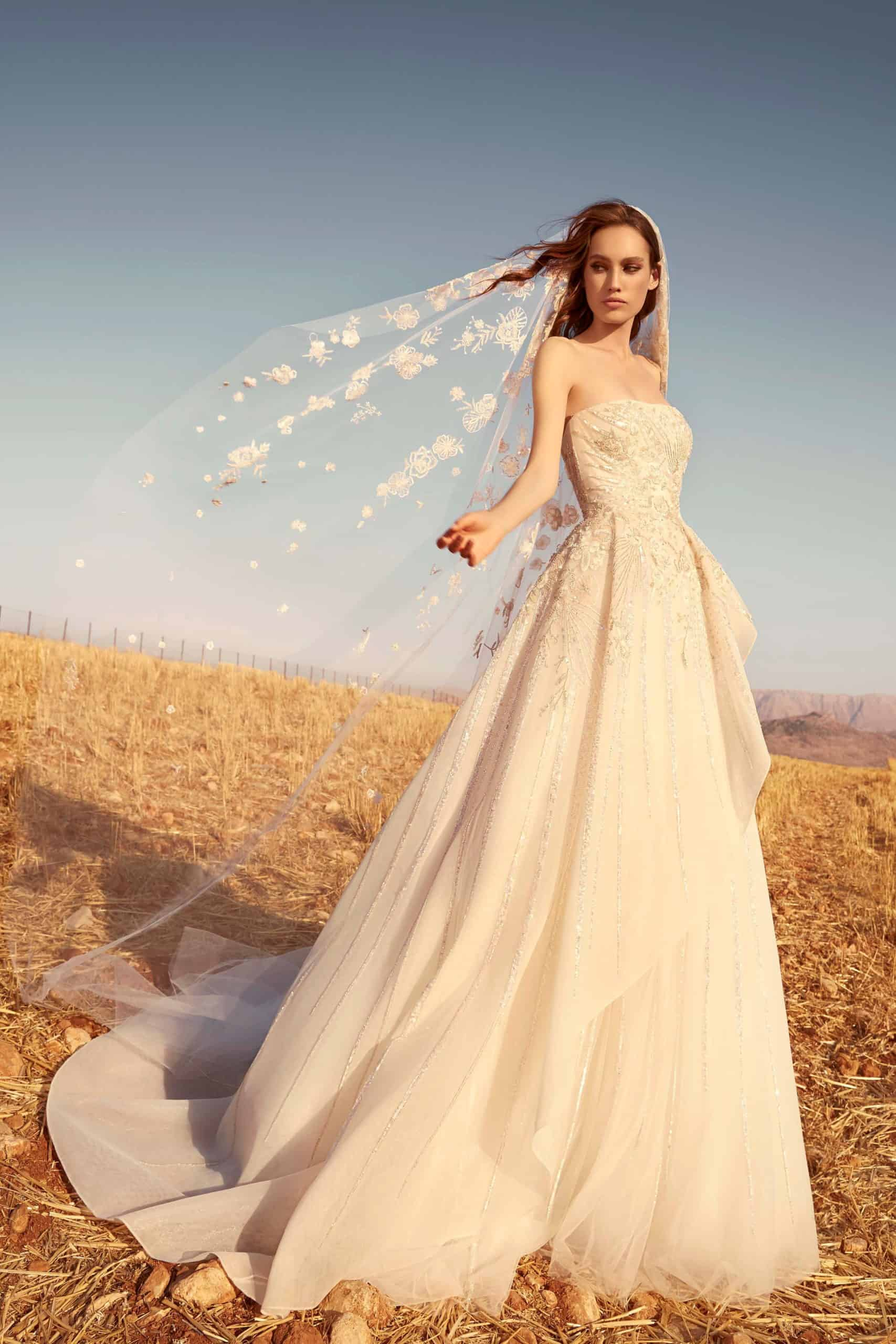 a-line strapless wedding dress with lace veil by Zuhair Murad