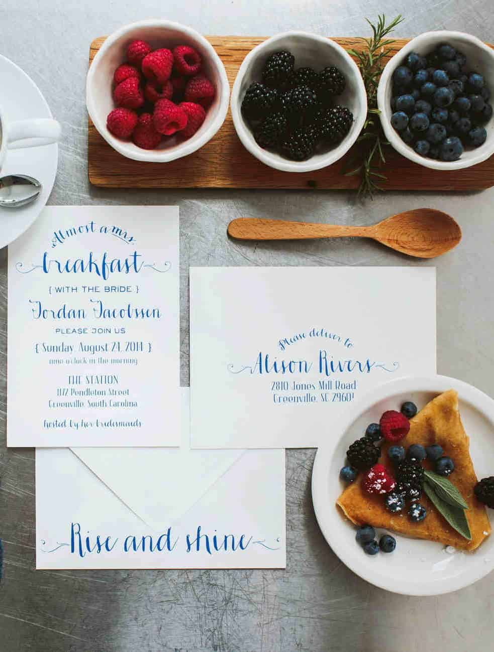 after wedding brunch invitation with berries blueberries and blackberries