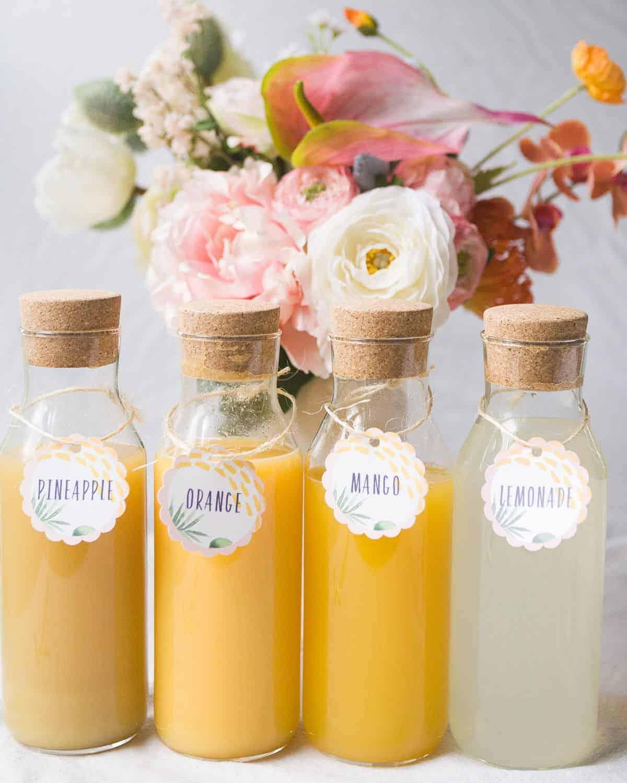 fresh orange, mango, pineapple and lemonade juice