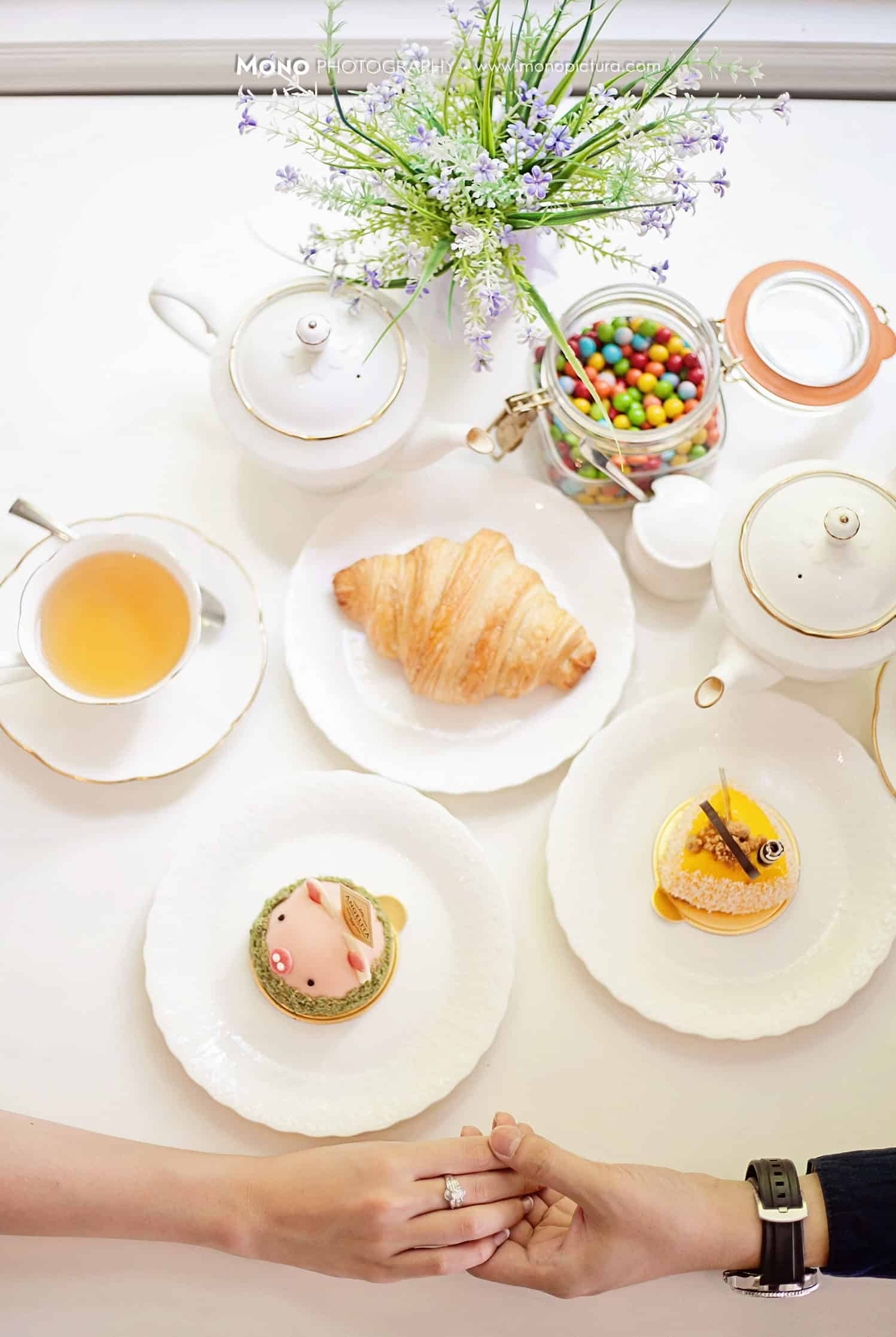 couple's breakfast with croissant and tea