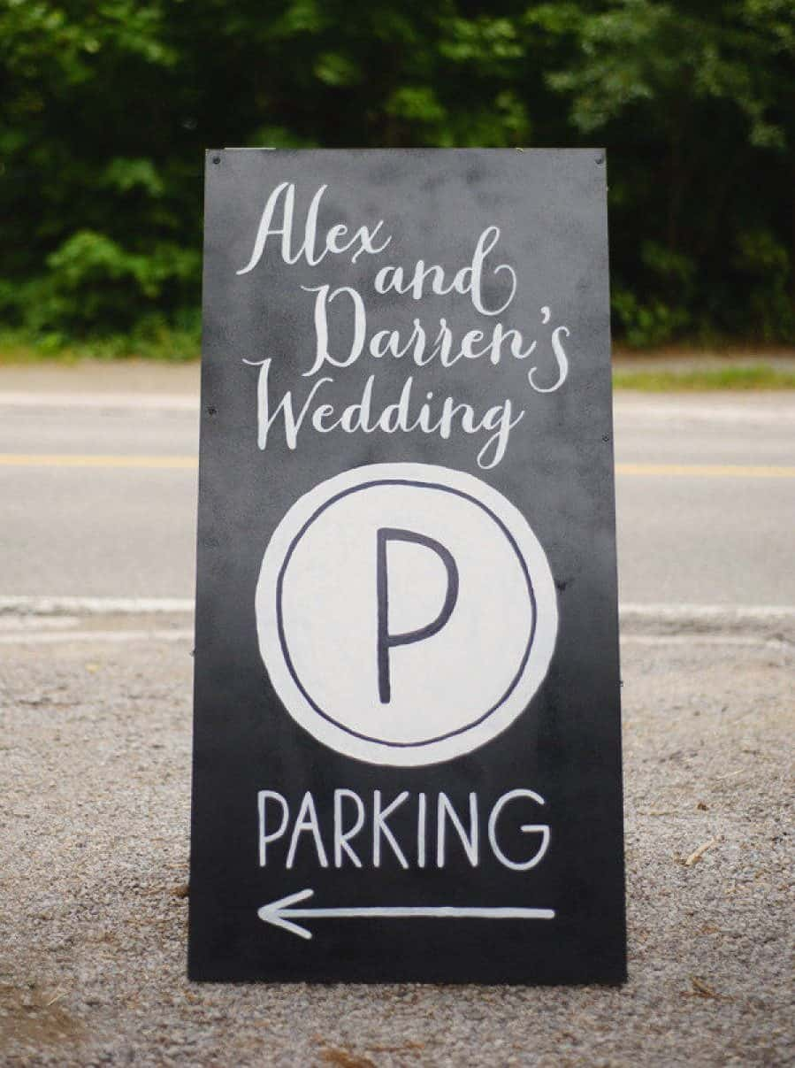 parking board for your wedding guest