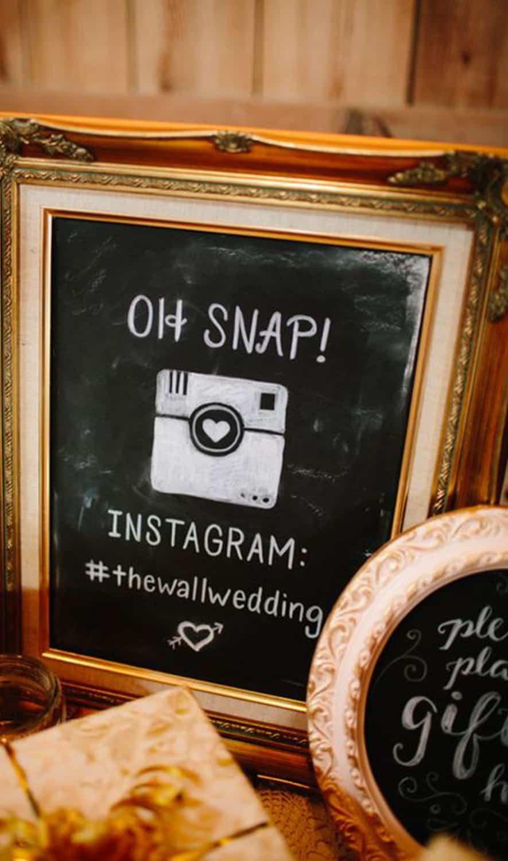 frame for wedding Instagram hashtag