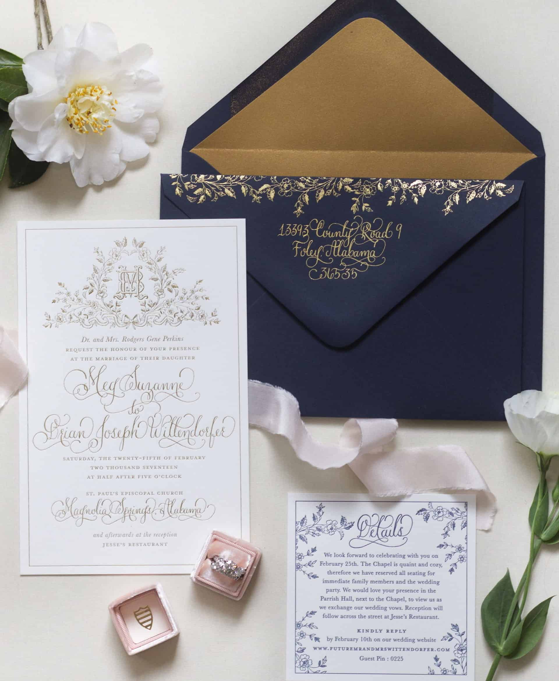 top shoot wedding invitation with navy blue envelope, gold foil and wedding ring in the box