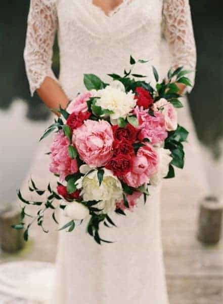 wedding bouquet with pink red and white roses
