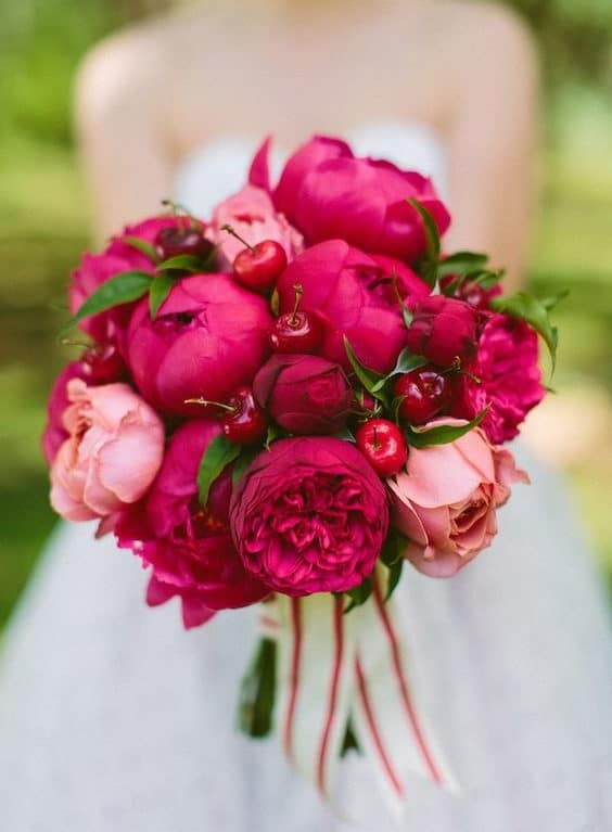 wedding bouquet with fuchsia and pink peony and cherries