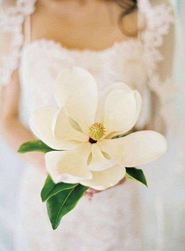 γαμήλια ανθοδέσμη με μανόλια σε λευκό χρώμα