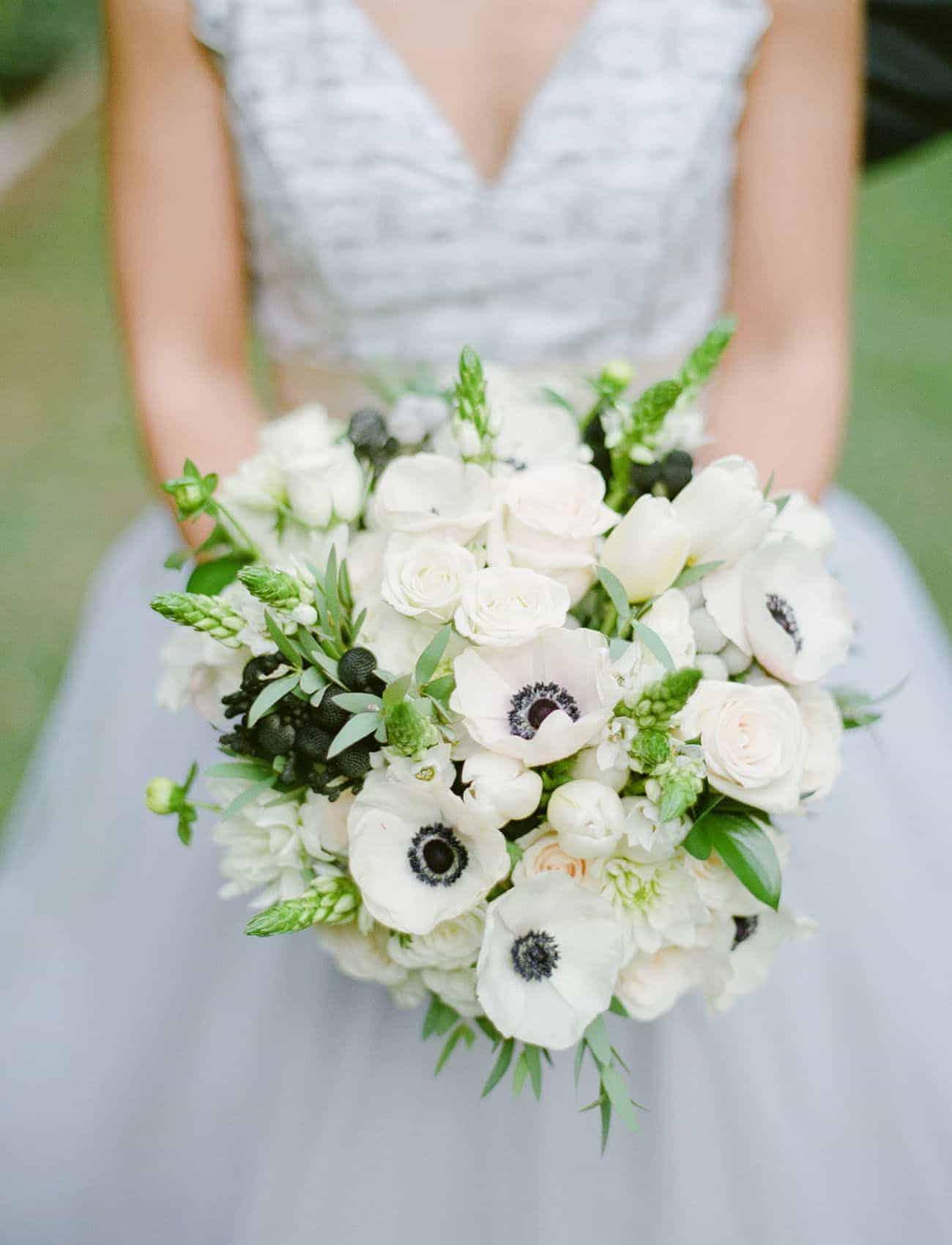 wedding bouquet with white anemones