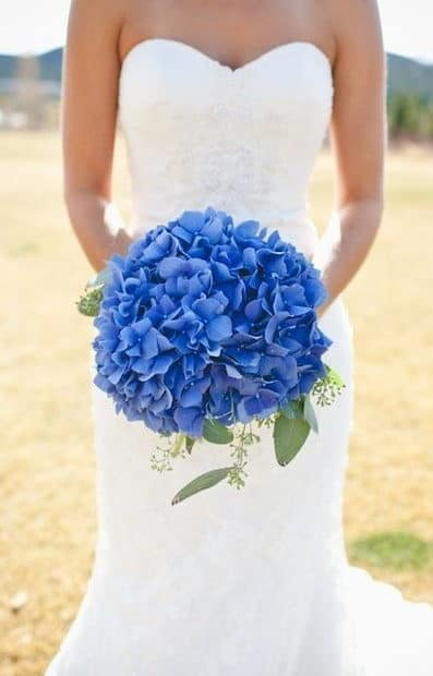 wedding bouquet with blue hydrangeas