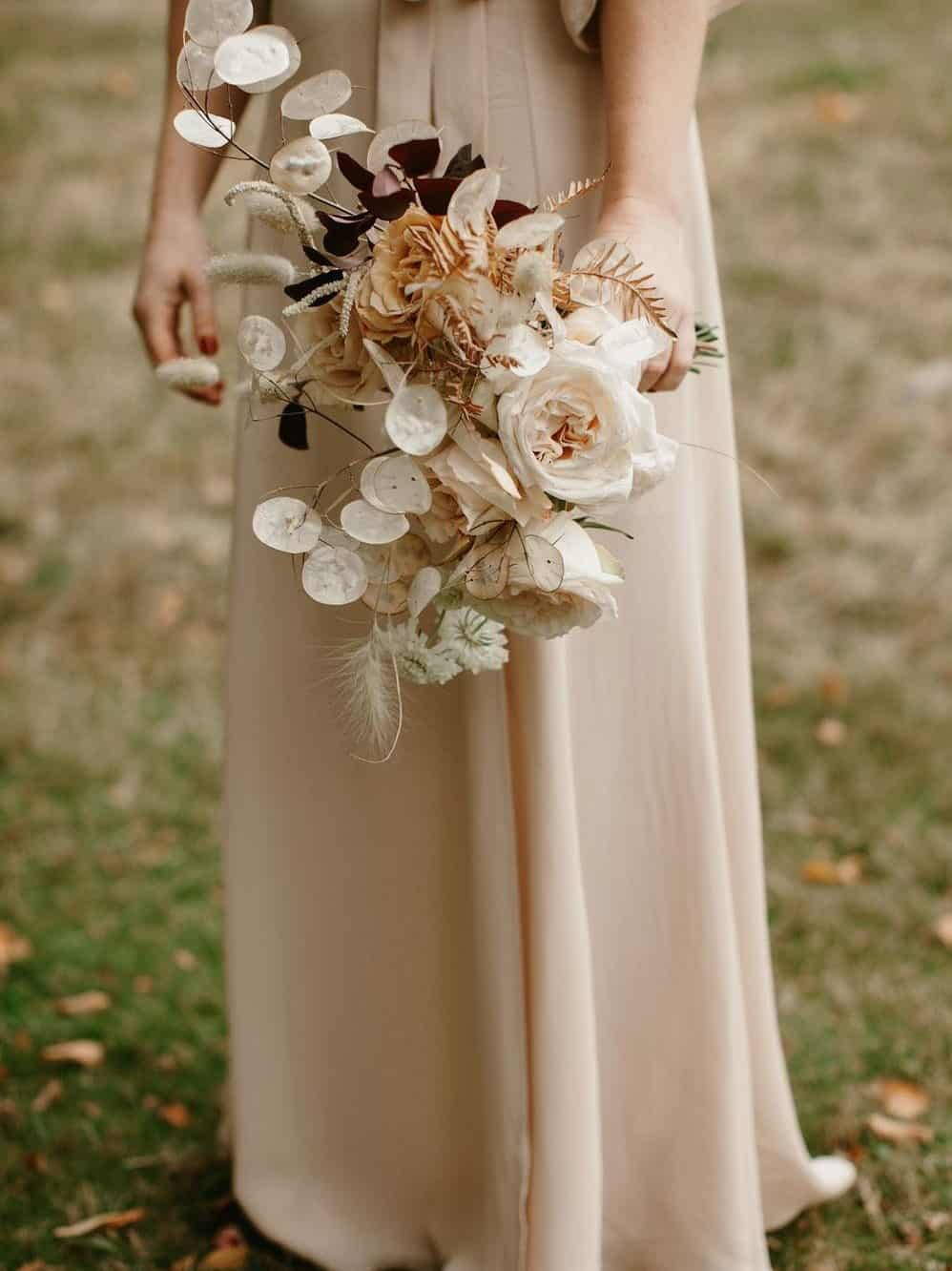 wedding bouquet with white roses and