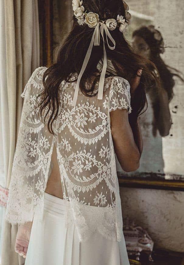 wedding dress with lace bohemian back