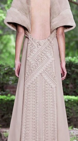 heavy fabric wedding dress with embroidered fabric back details