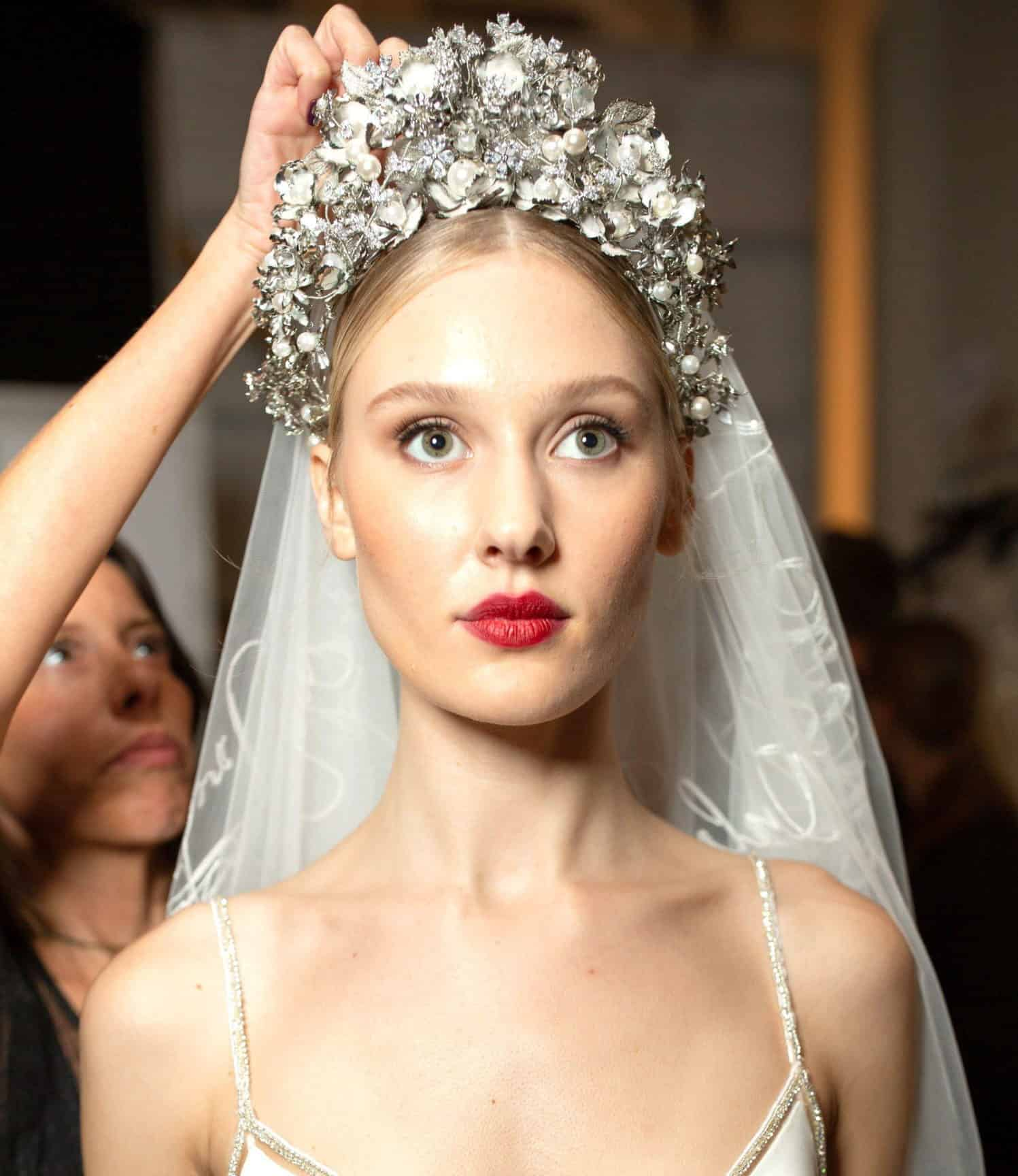 bride's hairstyling with jewelleries