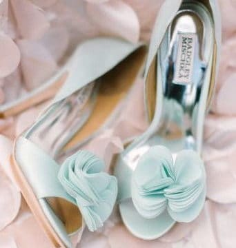 light blue wedding shoes with tulle flower