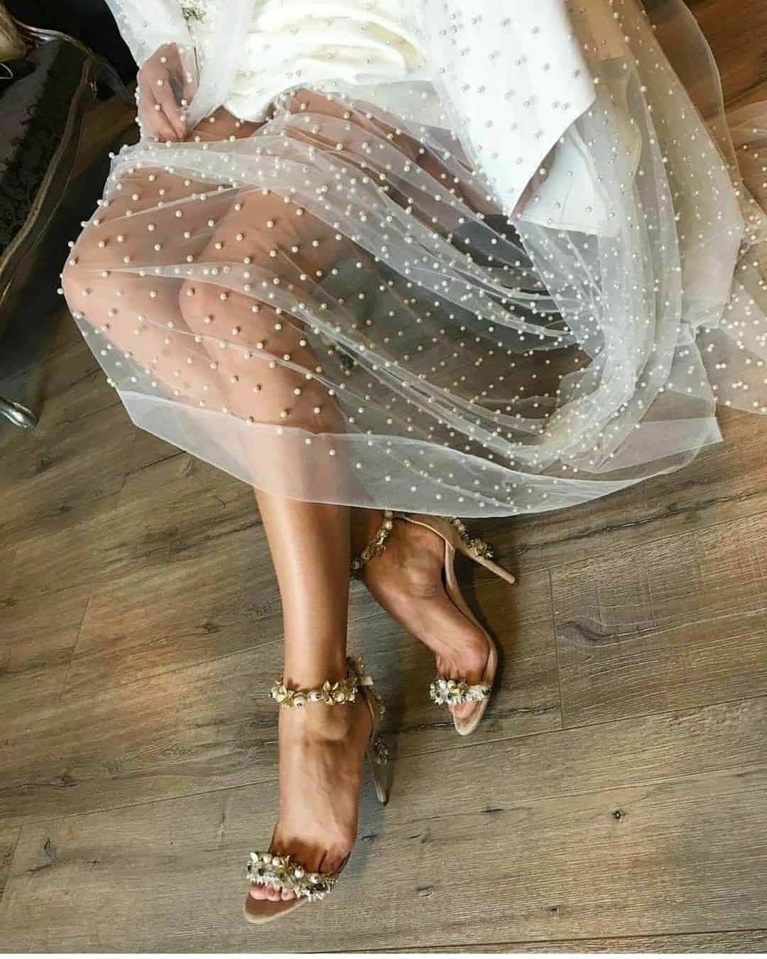 bride tulle with pearls
