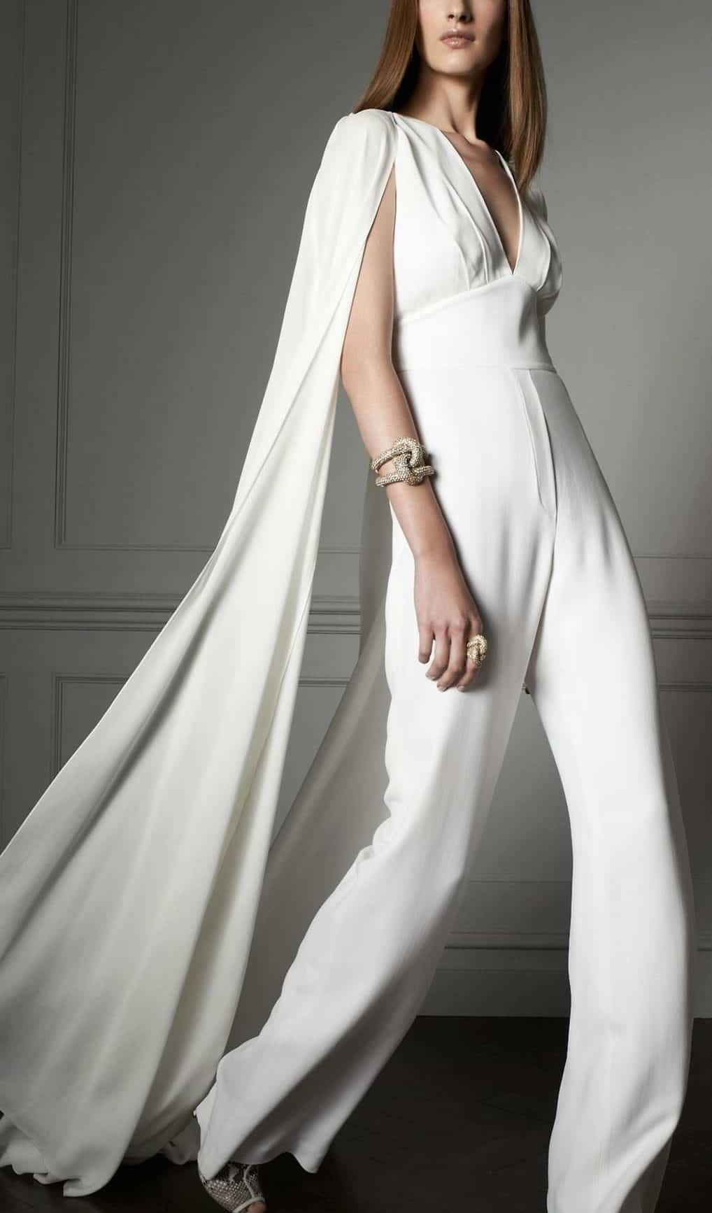 wedding dress jumpsuit with tail