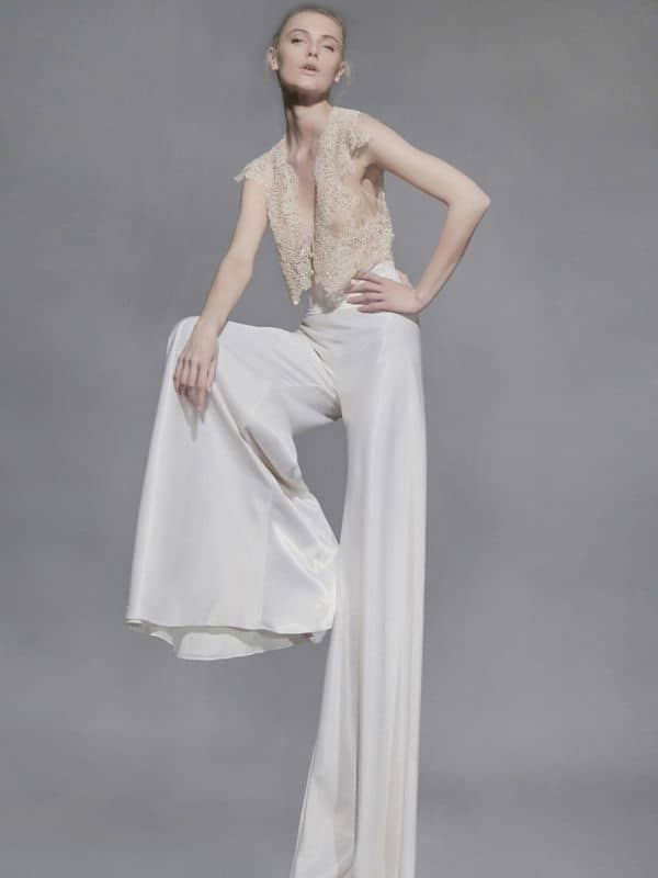 wedding dress jumpsuit with bell trousers