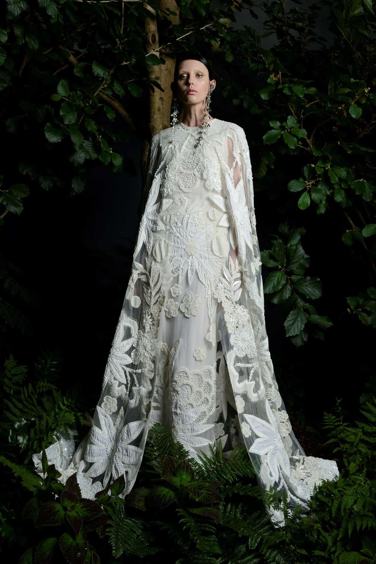 wedding dresses with cape by Naeem Khar