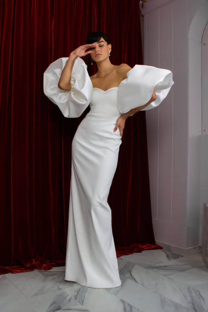 wedding dresses by Halfpenny London with puffy sleeves