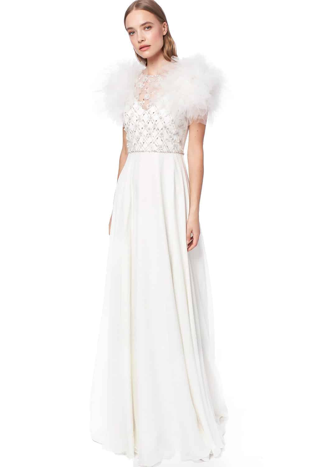 wedding dresses by Jenny Packham with puffy sleeves