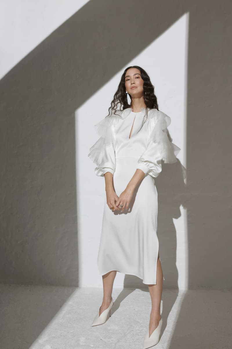 wedding dresses by Kaviar Gauche with puffy sleeves
