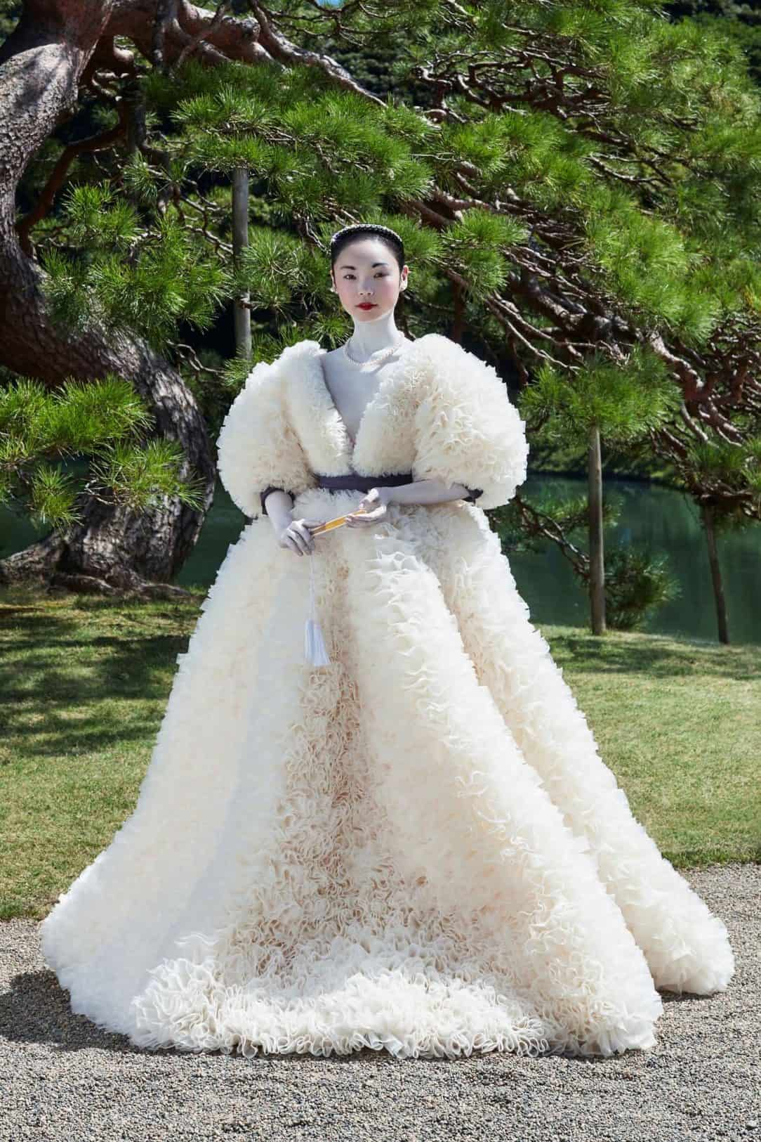 wedding dresses by Tomo Koizumi with puffy sleeves