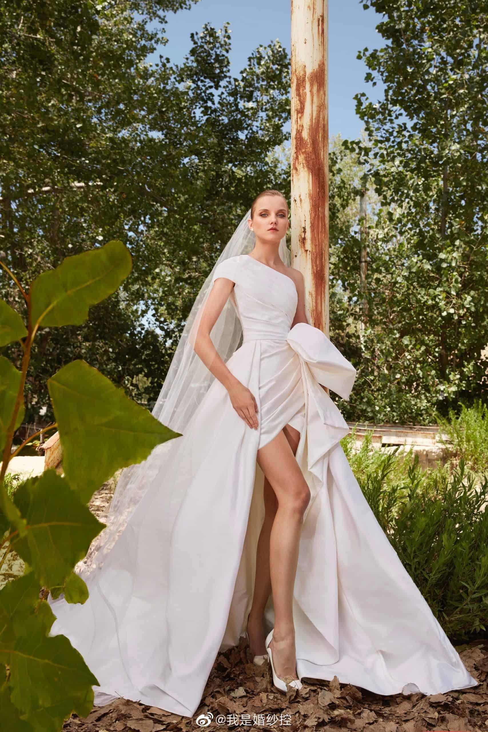 a short wedding dresses by Elie Saab