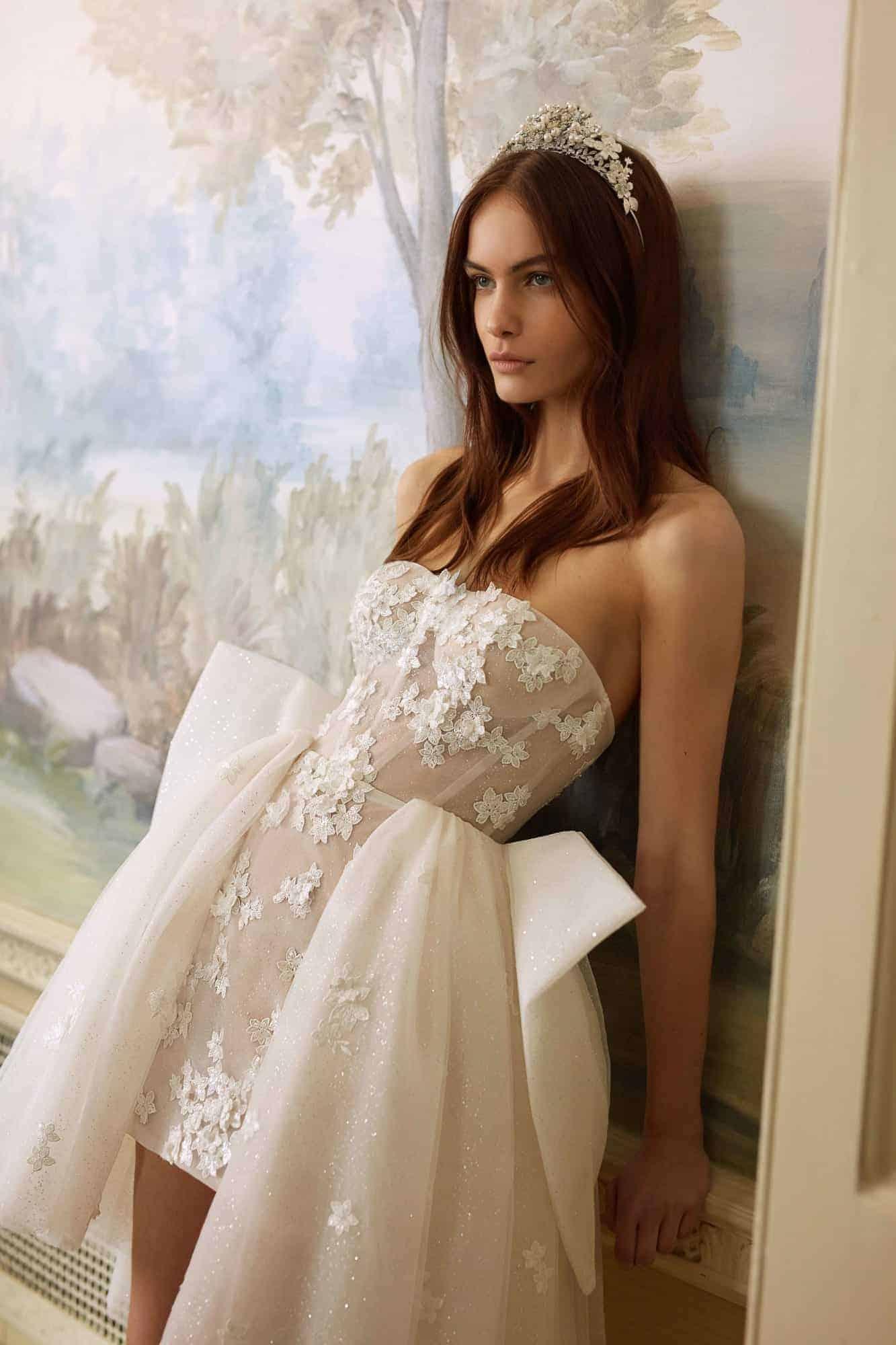 short strapless wedding dress by Galia Lahav