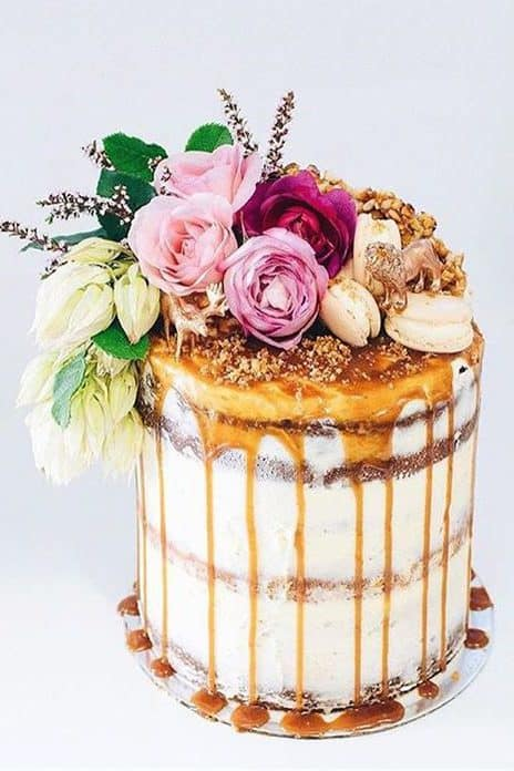 wedding cake with caramel and flowers