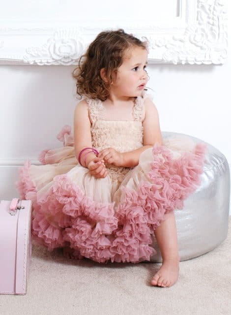 flower girl with a ballerina dress pink and ivory colour by angel's face