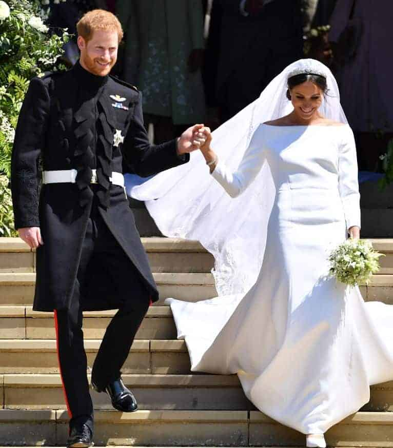 Meghan Markle with a wedding dress by Givenchy