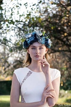 bride with flower head piece in blue colors