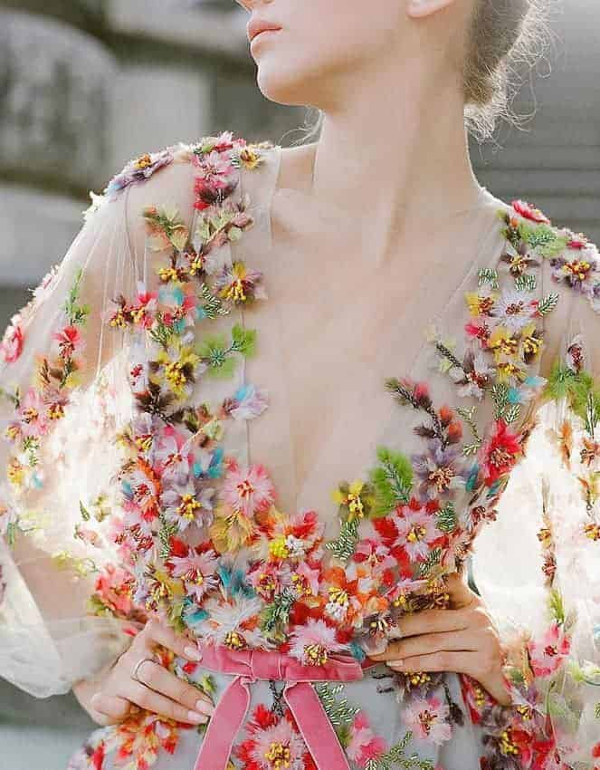 wedding dress with embossed colourful flowers