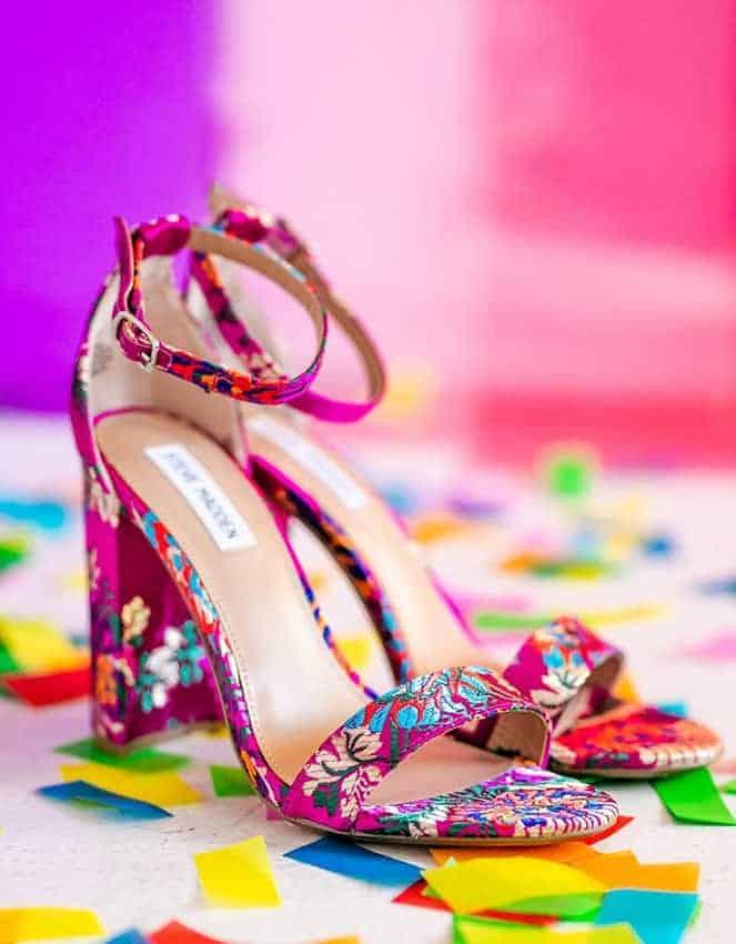 wedding fuchsia floral shoes