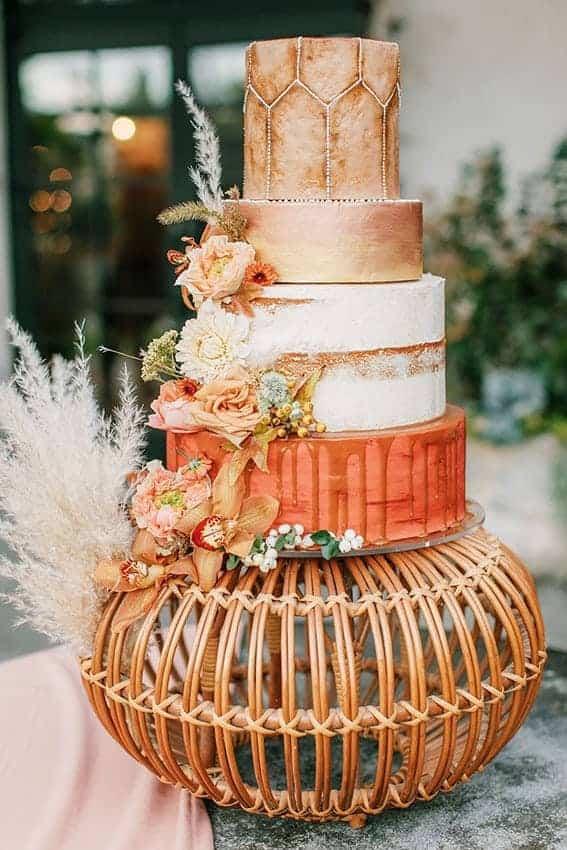 wedding cake in orange colour