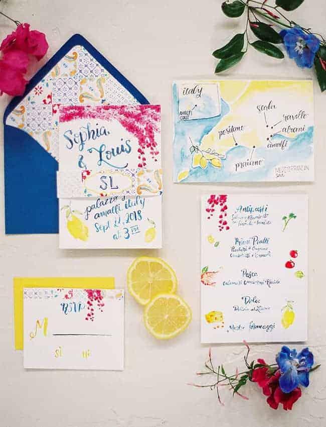 wedding invitation with lemon inspiration