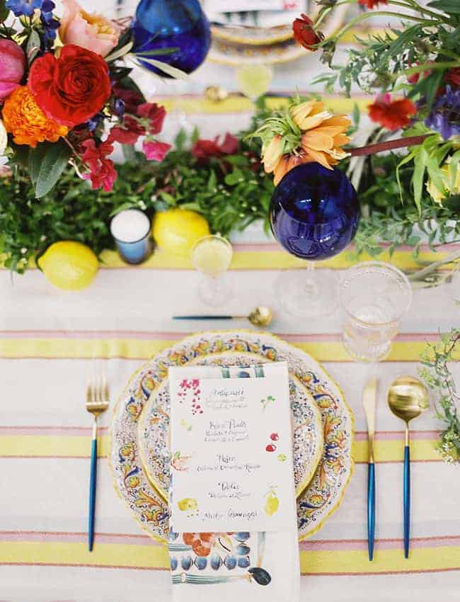 wedding plate decoration with a drawing menu on a plate