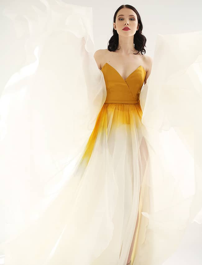 wedding dress with yellow colour