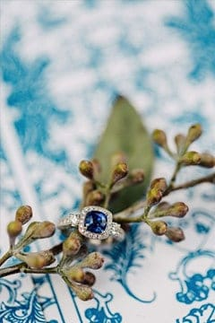 wedding ring with blue diamond in a china blue background